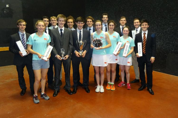 Three winning Cambridge sides with trophies and Pol Roger champ[agne