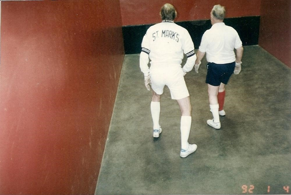 John Carey & Tom Wood on St. Mark's Singles court 1992