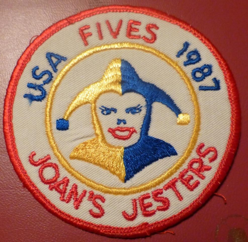 Joan's Jesters badge 1987