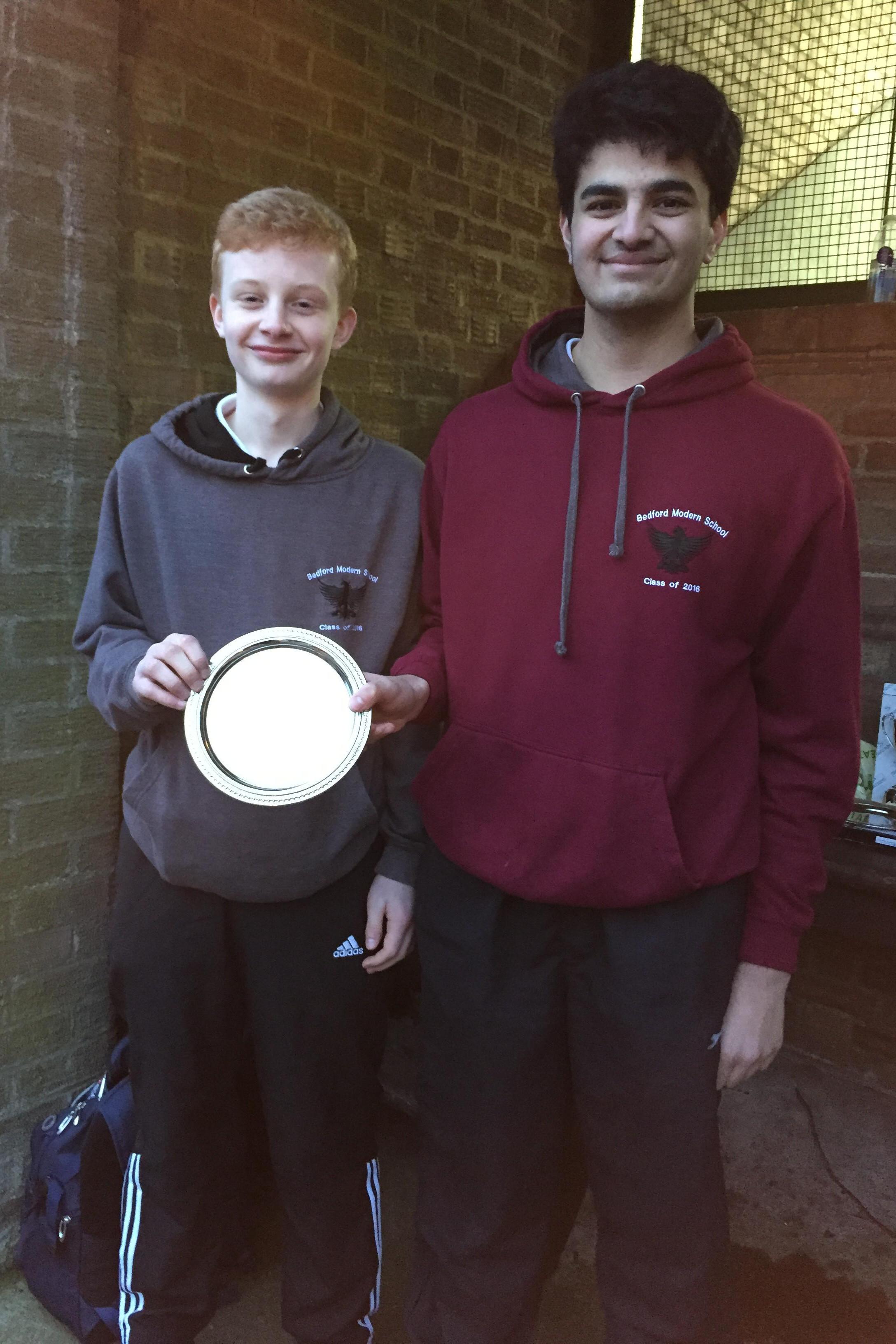 BMS U18 Plate winners Larrington & Pradhan