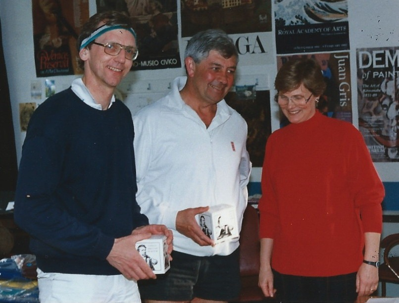 Rick Wilson with Dave Hebden and Sally Arnold at the Veterans' Doubles 1995