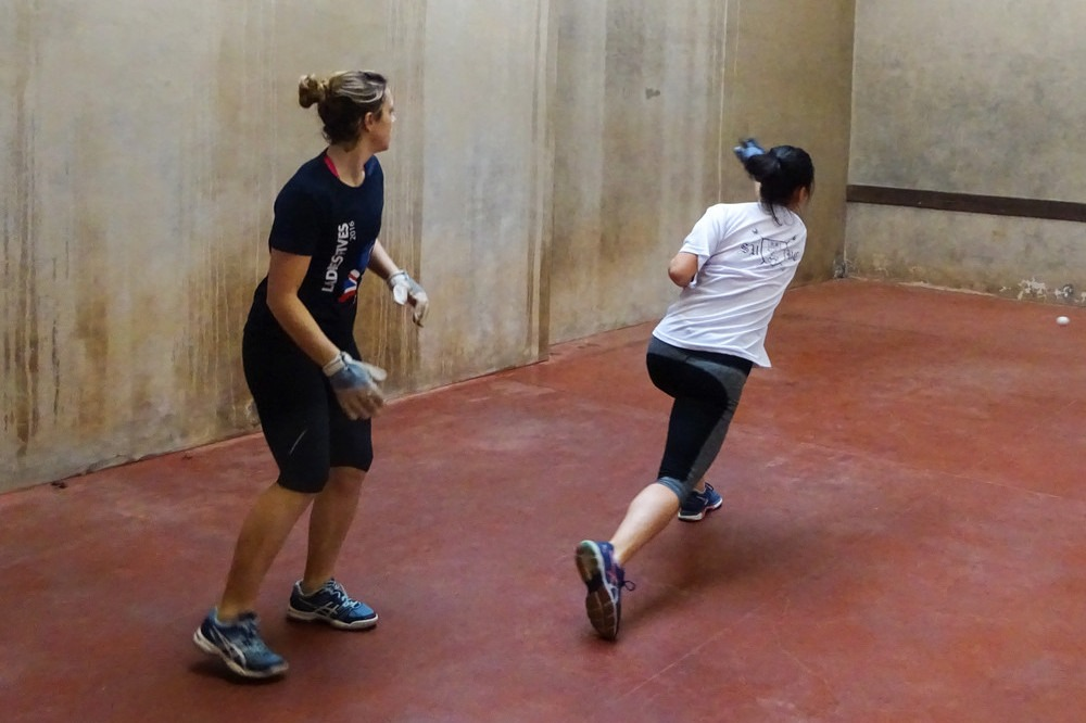 Action from the semi-final: Shinan and Tessa
