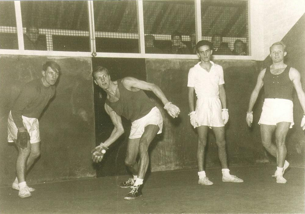 1960 The National Doubles final with Pat Badmin & Bob Dorey (in while) playing Stan Holt and David Gardner